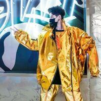 Fashion Men Shiny Coats Loose Zipper Long Sleeve Hip-hop Street Youth Jackets Sz
