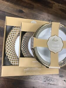 (12) Ciroa Luxe Metallic Gold Lattice Dinner Salad Plates Bowls ~NEW ~