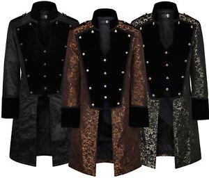 Ro Rox Mens Gothic Steampunk Emo Cosplay Velvet Brocade Long Coat Waistcoat