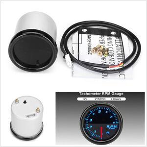 """Universal 2"""" 52mm 12V Car SUV Tachometer Tach Gauge 0-8000RPM 7Color LED Display"""