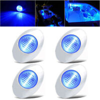 "4X 3"" Oval Marine Boat LED Stern Lights Blue Waterproof Deck Courtesy Light 12V"