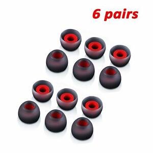 6 Pairs M-size Black Red In-Ear Earphone Soft Silicone Earbud Bud Tips Pads Case