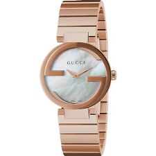 New Gucci Interlocking MOP Dial Rose Tone Stainless Steel Women's Watch YA133515