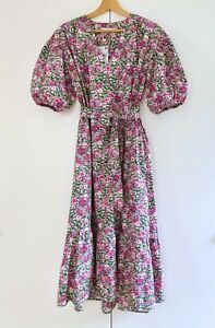 Mango 'Flowers' sustainable cotton poplin floral dress pink size S *NEW*