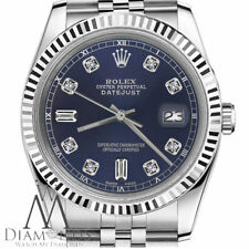 Navy Blue Dial Rolex 26mm Datejust 6+9 Baguette Cut Diamonds Ladies SS Watch