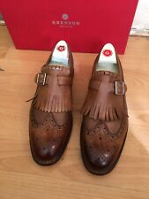 Grenson Linus Tan Dipped Leather Brogue Shoe Uk 8.5, RRP£250