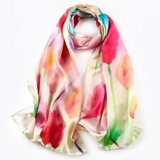 """100% Silk mulberry Women 68x20"""" Satin Scarf Large Shawl long Wrap red S121-001"""