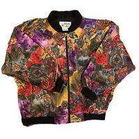 💋 Vintage 80s 90s Windbreaker Jacket Versace Look Baroque Sz M Bomber Designer