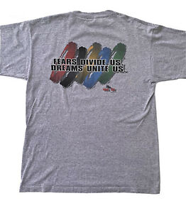 Vintage Men's No Fear Grey 90s '96 Olympics Themed T Shirt Single Stitch Size XL