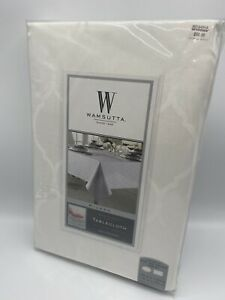 """Wamsutta 70"""" X 120"""" White Tablecloth Oval/Oblong Milano Stain Resistant New"""