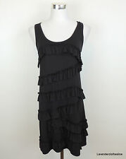 Juicy Couture S Black Ruffle Stretch Knit Sexy Sleeveless Tank Tiered Dress