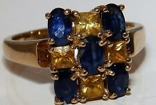 9CT YELLOW GOLD  CITRINE &  SAPPHIRE CLUSTER  RING  Size N