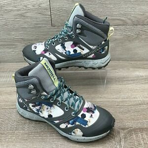 Merrell Women Altalight Mid-Top Hiking Boot Waterproof Gray White Size 7.5 M