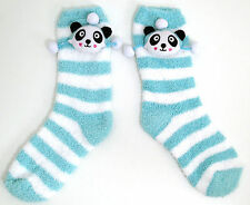 LADIES WHITE /AQUA PETE PANDA POM POMS COSY TOWELIING SOCKS UK ONE SIZE 4-8 BNWT