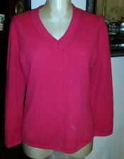 JONES NEW YORK COLLECTION 100% Cashmere Red V Neck Long Sleeve Sweater - sz PM
