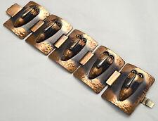 VTG Rebajes Brazilian Masks Copper Bracelet Link Clasp Mid Century Modern Bangle