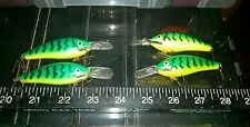 Lot of 4 Rapala Fat Balsa Raps #7 2 Made in Finland Old Fire Tiger color used