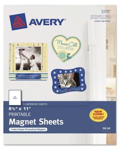 "Avery Printable Magnet Sheets, 8-1/2"" x 11"", Inkjet, 5 Matte White Sheets 3270"