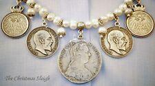 German Bavarian Austrian Women's Oktoberfest Jewelry - Faux Pearls Pewter Coins