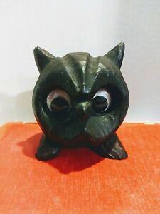 Vintage Dark Brown Black Owl Figurine Google Eyes Halloween Wood Grain Resin MCM