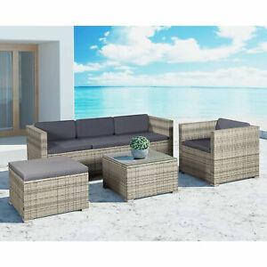 Gartenmöbel Polyrattan Lounge Sitzgruppe Gartenset Möbel grau-meliert Juskys®