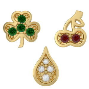 Teeth Jewelry Nature Tooth Gem 18k Yellow Gold on 925 Sterling Silver  Mix 3pc