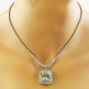 "20 ct Cushion Aquamarine & Sim Diamond Women's Pendant Necklaces 925 Silver 18"""