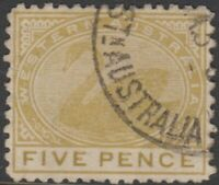 WA Stamps - Swan - 1905 - five pence olive bistre - used - SG143a