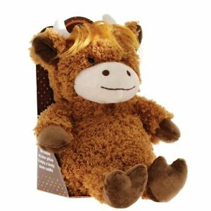 Aroma Home HIGHLAND COW Snuggable Hottie MICROWAVABLE SOFT TOY Scented Heated