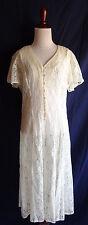 Vintage 70's Semi Sheer Ivory Flower Victorian Lace Boho Festival Gypsy Dress
