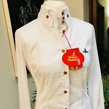BNWT Vivienne Westwood White Krall Stretch Cotton Blouse size 12(44) RRP ��220