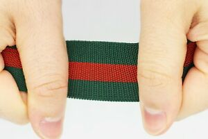 30 MM Gucci style, Green Red Striped Ribbon Trim, Elastic Ribbons, Elastic Trims