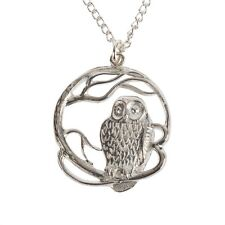 Cornish Jewellery. Polished Tin Pewter Owl Necklace, lovely Cornish Gift
