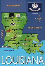 Louisiana State Map, New Orleans Baton Rouge Lafayette, LA, etc - 5 x 7 Postcard