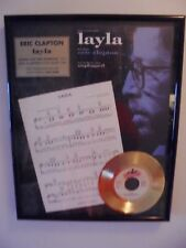 ERIC CLAPTON 'LAYLA' 24KT GOLD RECORD, LYRICS IN FRAMED LTD. EDITION # 326 /2500