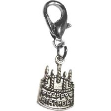 "Happy Birthday Dog Charm - Chrome - Lobster Claw Clasp 1/2"" Wide"
