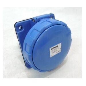 GEWISS GW63249 63 Amp 2P + E 230V Blue Flanged Recessed Socket IP67