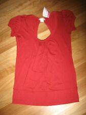 LADIES CUTE RED  SCOOP NECK BACKLESS SHORT SLEEVE TOP BY SUPRE SIZE L 10/12 NWT