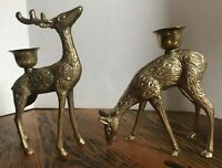 Vintage Brass Deer Candle Holders Buck & Doe Christmas Holiday Rustic Decor