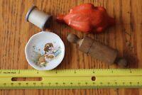 Lot of Doll accessories Vintage wood rolling pin bone china dish plastic turkey