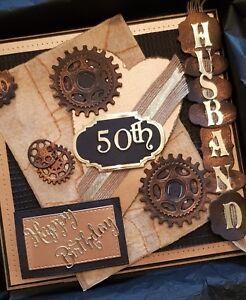 "Mens / Husband 50th Birthday Card, Large luxury ""8x8"" Handmade & with Box"