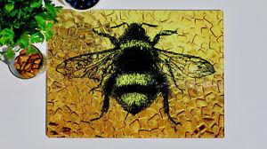 Gold Yellow Bee 40cm x 30cm Glass Chopping Board / Worktop Saver / Cutting