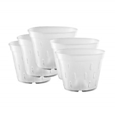 Yikush 5.5 inch 5 Pack Orchid Clear Flower Pot Plastic Planter Breathable