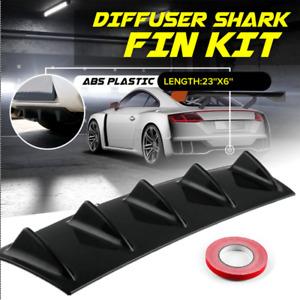 Universal Black ABS Car Rear Bumper Lip Diffuser 5 Fin Shark Spoiler Splitter
