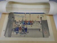 Vintage Japanese UKIYOE HANGA Woodblock Print w/EDO TOKAIDO-53-TSUGI R203