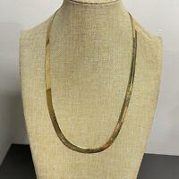 Vintage Monet Gold Tone Flat Herringbone Chain Necklace 24''