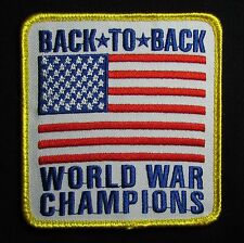 BACK TO BACK WORLD WAR CHAMPIONS USA XL FLAG US ARMY COLOR BADGE MORALE PATCH