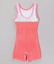 New! Paella Pink Velet Silver Glitter Polka Dot Gymnastic Leotard Biketard Sz:Cl