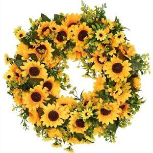 Artificial Sunflower Summer Wreath-16 Inch Decorative Fake Flower Wreath