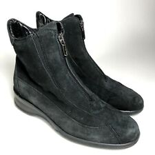 EUC Aquatalia Womens 7 Black Suede Leather Zip Ankle Waterproof Boots Wedge